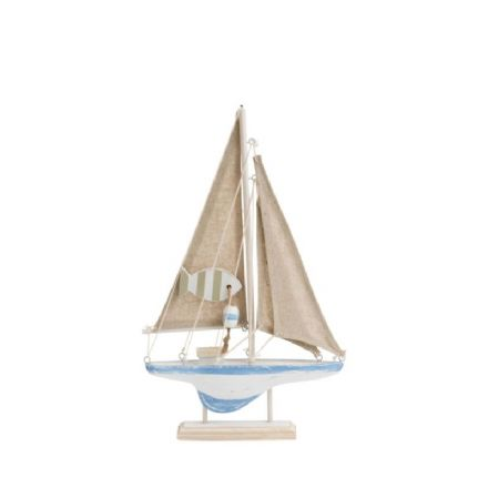 Rustic Sail Boat on Stand - 30cm Nautical Ornament